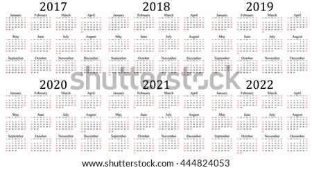 Calendario 2020 Vettoriale Gratis.Immagine Vettoriale A Tema Six Year Calendar 2017 2018 2019