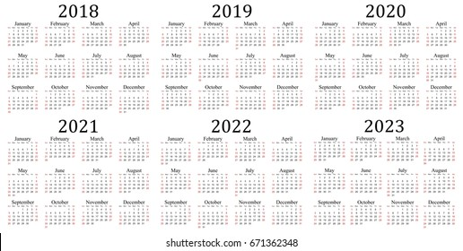 Six year calendar - 2018, 2019, 2020, 2021, 2022 and 2023 in white background