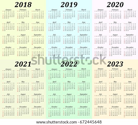Six Year Calendar 2018 2019 2020 Stock Vector Royalty Free