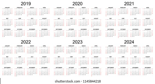 Six year calendar - 2019, 2020, 2021, 2022, 2023 and 2024 in white background