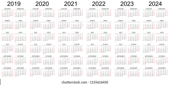 Six year calendar - 2019, 2020, 2021, 2022, 2023 and 2024 in white background.