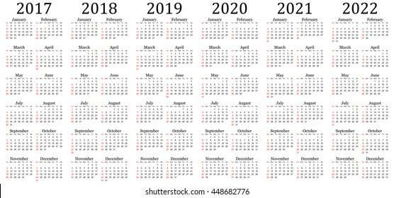 Six year vector calendar - 2017, 2018, 2019, 2020, 2021 and 2022 in white background