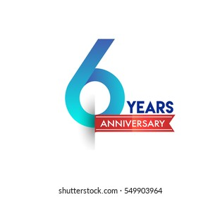 six years anniversary celebration logotype blue colored with red ribbon. 6th birthday logo on white background