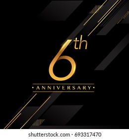six years anniversary celebration logotype. 6th anniversary logo golden colored isolated on black background, vector design for greeting card and invitation card.