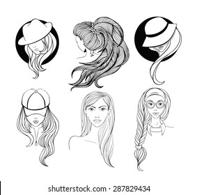 Six young girls  with long hair made in sketch doodling style. Girl - nerd with cat-eyes style glasses, lady in the baseball cap, and two women in vintage hats