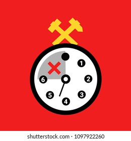 Six-hour working hours during workday. Shortened period of time at work and job. More leisure and free vacant time for worker and laborer. Vector illustration