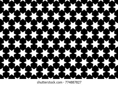 Six-pointed star - black and white vector pattern