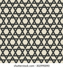 six-pointed star monochrome seamless pattern. vector illustration - eps 8