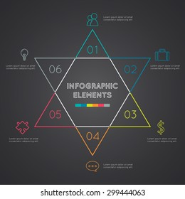 Six-pointed star  presentation infographic template with explanatory text field for business statistics.