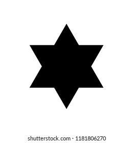 six-pointed star, triangle, vector icon