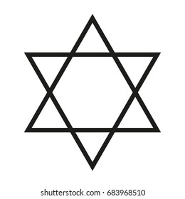 The six-pointed star, vector icon. Black contour on white background. Hexagram.