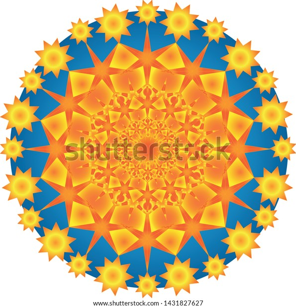 Six-pointed stars in different sizes combined and combined in gold circles.
