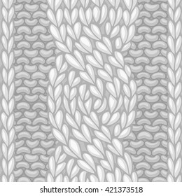 Six-Stitch cable stitch. Vector left-twisting rope cable (C6F) seamless pattern. Vector knitting texture. Boundless background can be used for web page backgrounds.