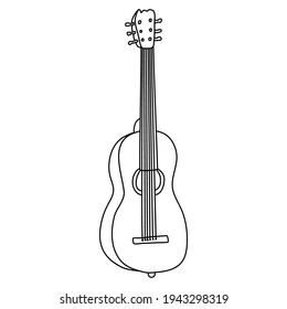 Six-string acoustic guitar. Hand drawn vector illustration in doodle style on white background. Isolated black outline. Stringed musical instrument.