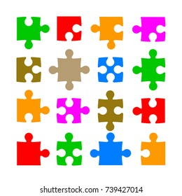 Sixteen color puzzle - stock vector