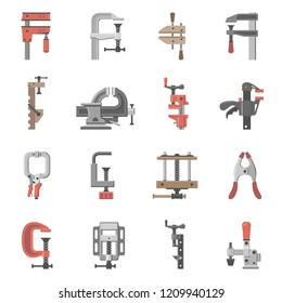 Sixteen different types of clamps and vises