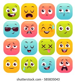 Sixteen emoticons set. Colorful emoji design buttons isolated on white background. Vector illustration.