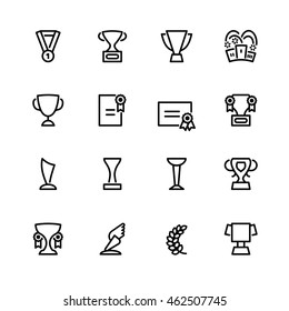 Sixteen flat design black outline sport icons isolated on white