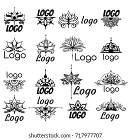 Sixteen freehand drawings of logos with lotus flowers in east style. Can be used as a logo, for backgrounds, business style, tattoo templates, cards design or else. Vector illustration.