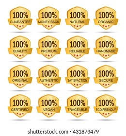 sixteen gold 100% logo label badges. guarantee. money back. natural. organic. quality. premium. reliable. handmade. original. authentic. satisfaction. secure. certified. vegan. traceable. eco friendly