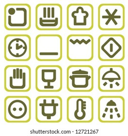 Sixteen household icons isolated on a white background.