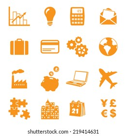 Sixteen individually grouped business/finance icons.