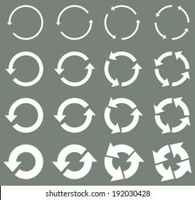 Sixteen rotate arrow icon sign. vector / illustration