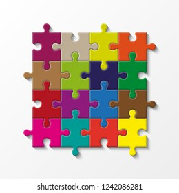 Sixteen sided puzzle presentation. Abstract puzzle infographic template with explanatory text field business statistics. Vector 16 pieces puzzles illustration. Section Sixteen compare service banner