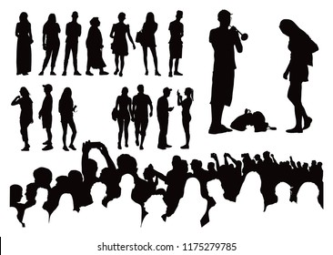 Sixteen simple single people black silhouettes plus crowd on the bottom. Vector illustration.