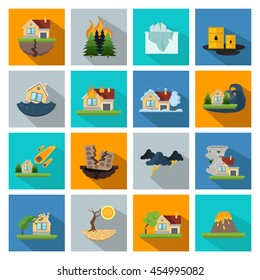 Sixteen square disaster damage in linear style icon set on colored background vector illustration