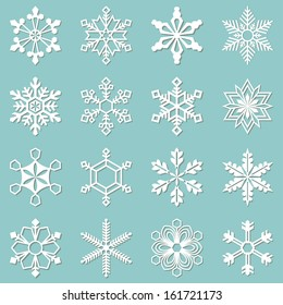 Sixteen white snowflakes of different shapes. Winter set vector illustration