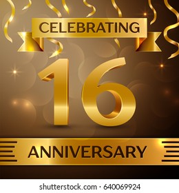 Sixteen Years Anniversary Celebration Design. Confetti and gold ribbon on golden background. Colorful Vector template elements for your birthday party. Anniversary ribbon