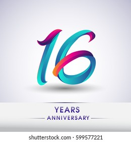 sixteen years anniversary celebration logotype blue and red colored, 16th birthday logo on white background