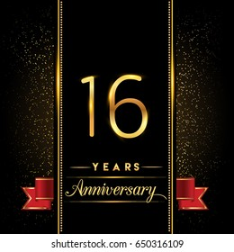 sixteen years anniversary celebration logotype. 16th anniversary logo with confetti golden colored and red ribbon isolated on black background, vector design for greeting card and invitation card