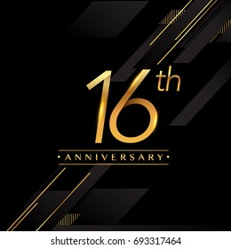 sixteen years anniversary celebration logotype. 16th anniversary logo golden colored isolated on black background, vector design for greeting card and invitation card.