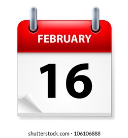 Sixteenth February in Calendar icon on white background