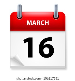 Sixteenth March in Calendar icon on white background