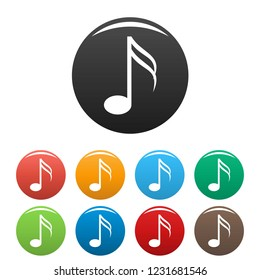 Sixteenth music note icons set 9 color vector isolated on white for any design