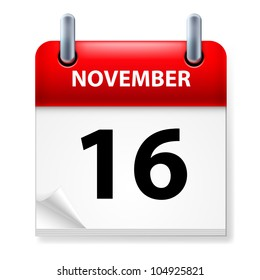 Sixteenth in November Calendar icon on white background