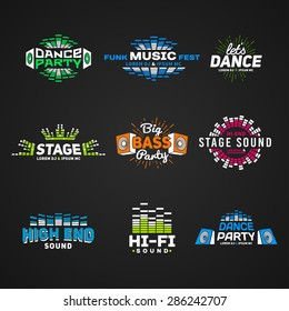 Sixth set music equalizer emblem vector on dark background. Modern colorful logo collection. Sound system illustration.