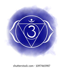 Sixth, third eye chakra - Ajna. Illustration of one of the seven chakras. The symbol of Hinduism, Buddhism. Blue watercolor fog on background.