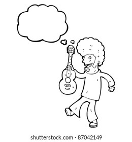sixties guitar player cartoon