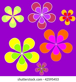 Sixties style background illustration with colored flowers
