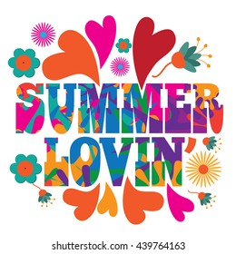Sixties style mod pop art psychedelic colorful Summer Lovin text design. EPS 10 vector.