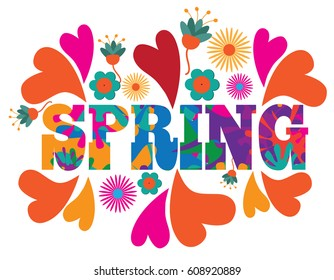 Sixties style mod pop art psychedelic colorful spring text design. For celebration of the spring season. EPS 10 vector.