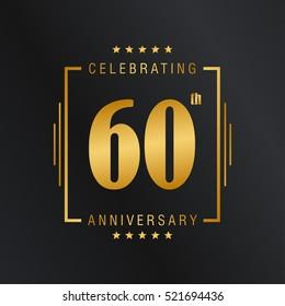 Sixty anniversary celebration logotype. 60th anniversary logo collection. Anniversary label. Anniversary logo template. Anniversary sign. Vector Illustration
