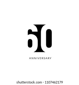 Sixty anniversary, minimalistic logo. Sixtieth years, 60th jubilee, greeting card. Birthday invitation. 60 year sign. Black negative space vector illustration on white background