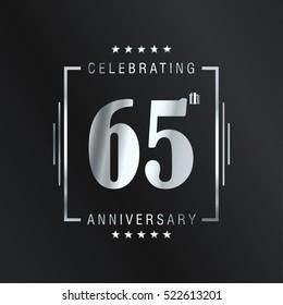 Sixty Five anniversary celebration logotype. 65th anniversary logo collection. Anniversary label. Anniversary logo template. Anniversary sign. Vector Illustration