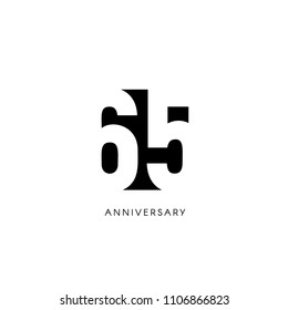 Sixty five anniversary, minimalistic logo. Sixty-fifth years, 65th jubilee, greeting card. Birthday invitation. 65 year sign. Black negative space vector illustration on white background