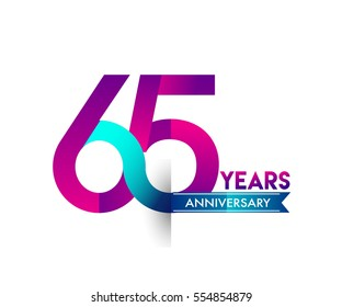sixty five years anniversary celebration logotype colorfull design with blue ribbon, 65th birthday logo on white background